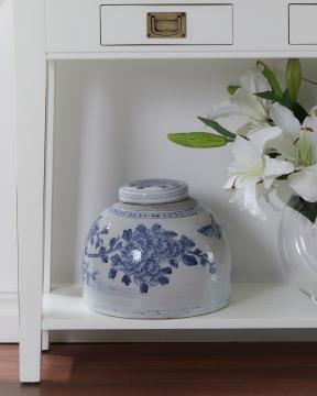 Blom ingefärskrus vit/blå 4