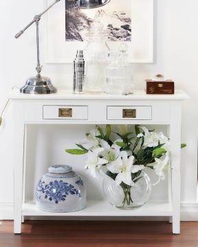 Blom ingefärskrus vit/blå 2