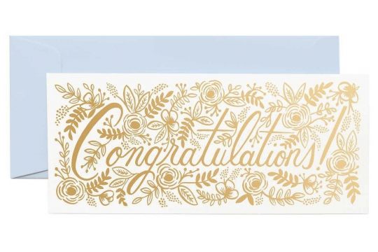 Champagne Floral Congrats Kort 1
