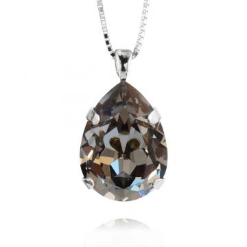 Classic Drop halsband black diamond rhodium 1