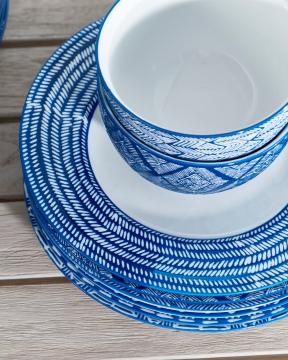Capri Azzurra assietter blå/vit 6