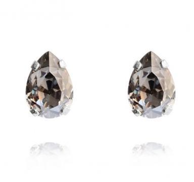 Mini Drop stud örhängen black diamond rhodium 1