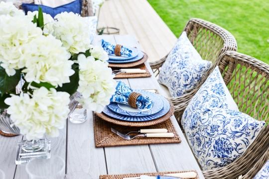 Joelle kuddfodral blå/vit 40x60 3