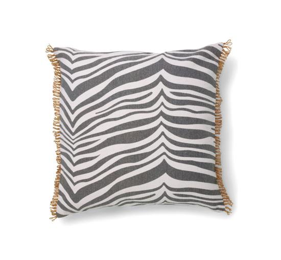 Listbild Zebra kuddfodral grå 50x50