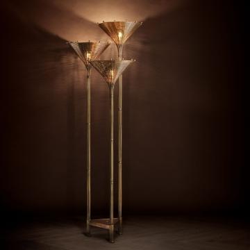 Floor Lamp Kon Tiki Triple vintage brass finish 6