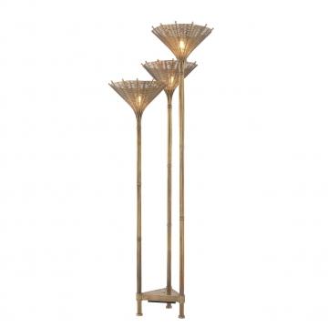 Floor Lamp Kon Tiki Triple vintage brass finish 1