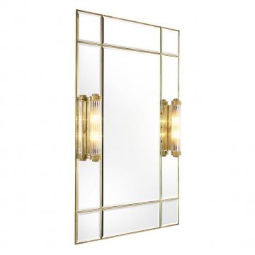 Beaumont spegel med lampor mässing 2