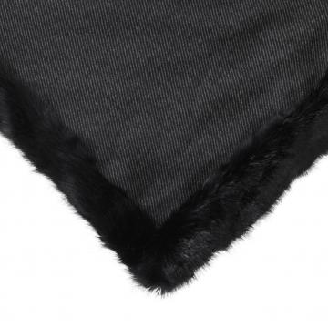 Alaska pläd faux fur svart 2