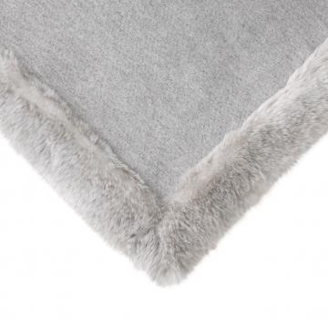 Alaska pläd faux fur ljusgrå 2