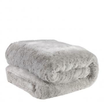 Alaska pläd faux fur ljusgrå 1
