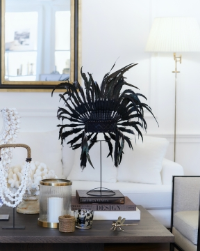 Fjäderbonad dekoration svart 1