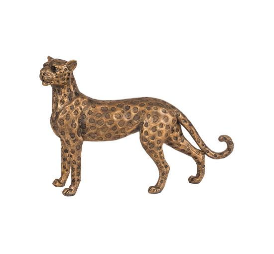 Listbild Elsa leopard staty guld/brun