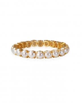 Gia Stretch armband pearl guld 2