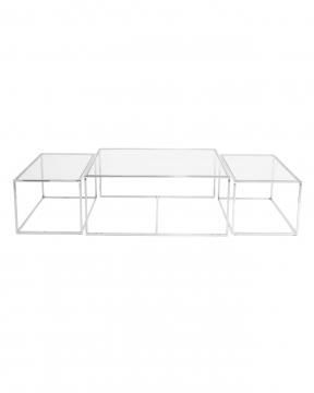 Three set table - satsbord krom låg 1