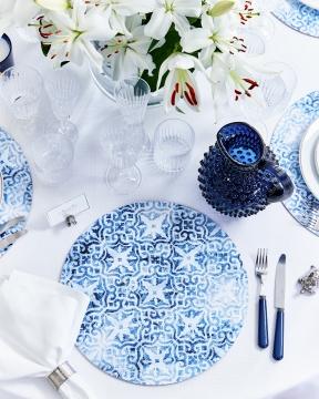 Portofino bordsunderlägg rund blå/vit 4
