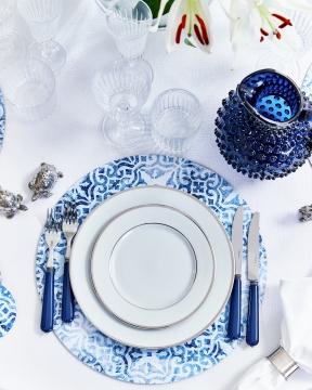 Portofino bordsunderlägg rund blå/vit 5