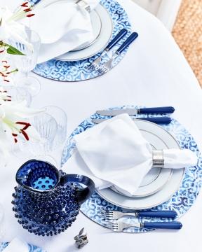 Portofino bordsunderlägg rund blå/vit 6