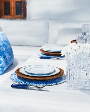 Portofino bordsunderlägg rund blå/vit 2