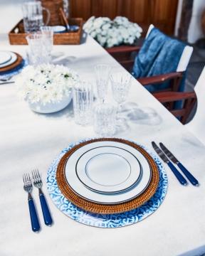 Portofino bordsunderlägg rund blå/vit 1