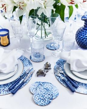 Portofino glasunderlägg rund blå/vit 2