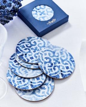 Portofino glasunderlägg rund blå/vit 1