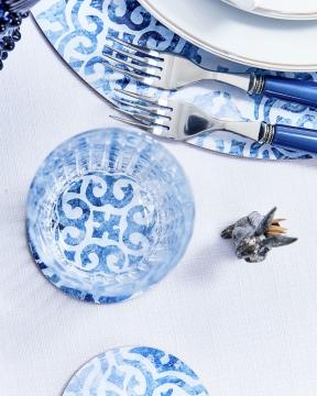 Portofino glasunderlägg rund blå/vit 4