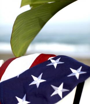 American flag staende