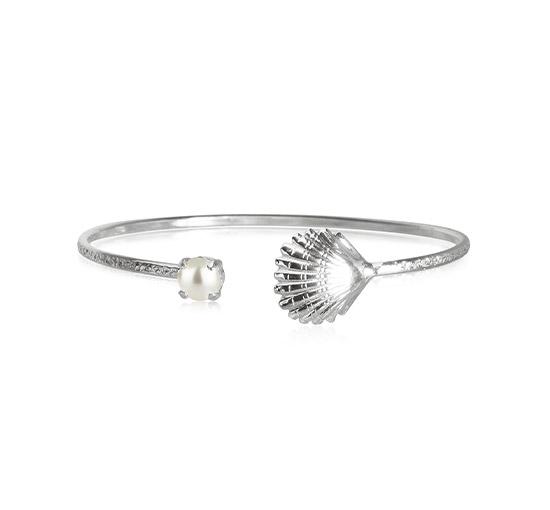Shell armband pearl rhodium