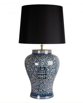 Macao bordslampa blå/vit 1