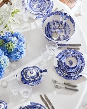 Blue Italian serveringsskål blå/vit 4