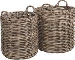 Round basket 2-s kubu grey