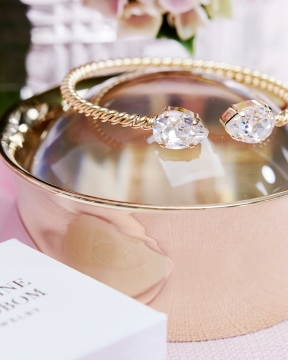 Mini Drop armband crystal guld 6