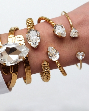 Mini Drop armband crystal guld 2